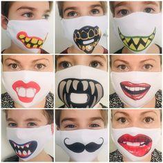 Fácil de lavar, doble capa , capa interior 100% algodón, divertidos estampados Diy Mask, Diy Face Mask, Mouth Mask Design, Eyebrow Makeup Tips, Tapas, Diy Crafts For Gifts, Lip Art, Fashion Face Mask, Halloween Masks