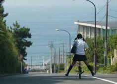 Japanese high school bicycle girl