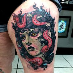 Tattooed by Justin Harris by Medusa portrait Medusa Tattoo, I Tattoo, Justin Harris, Special Tattoos, Fantasy Portraits, Sweet Tattoos, Neo Traditional Tattoo, Skin Art, Color Tattoo