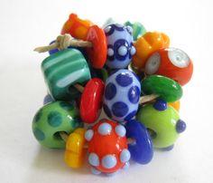 Bright Funky Lampwork Beads SRA by bethsingleton on Etsy, $32.00