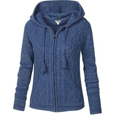 Fat Face Dawlish Zipped Hooded Cardigan, Indigo (115 CAD) ❤ liked on Polyvore featuring tops, cardigans, chunky cable knit cardigan, hooded cable knit cardigan, blue cardigan, zip top and blue top