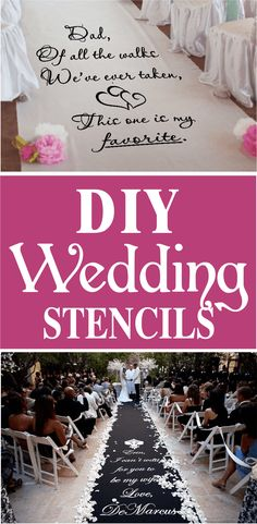 DIY wedding runner stencils, $28 and up ,https://www.walltowallstencils.com/stencils/landing/wedding.php Professional results made easy with stencils!! Make your event unforgettable without the hiigh cost. Customizing your wedding aisle runner is a cinch! Easy to apply, comes with step by step instructions, gorgeous results. Custom made to fit your runner.  #weddingstencils