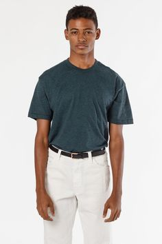 73dd0def1b8f9 FF01 - Poly-Cotton Crew Neck T-Shirt - Black Aqua   XS