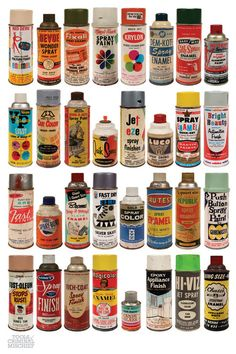 collection of vintage spray paint cans