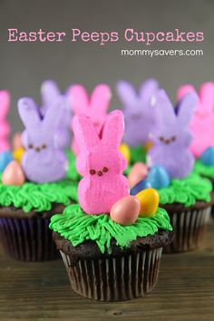 These cute Easter Bunny Peeps Cupcakes are easy to make and look fabulous on your table for Easter dinner. Plus, kids love to help make them!