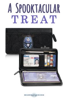 """Celebrate the ghoulishly famous 1993 film Disney Tim Burton's """"The Nightmare Before Christmas"""" with this genuine black leather zippered checkbook cover! This luxurious, all-in-one zippered wallet checkbook cover features pockets for credit cards, a window pocket for your driver's license, a slip-in personal check pocket and more!"""