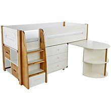 Buy Stompa Curve Mid-Sleeper with Pull-Out Desk, 3 Drawer Chest and 2 Door Cube Unit, Silk White / Oak Online at johnlewis.com