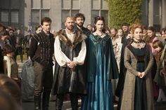 """Reign -- """"Pilot"""" -- Image Number: RE100b_172r.jpg -- Pictured (L-R): Torrance Coombs as Bash, Alan Van Sprang as King Henry II, Rossif Sutherland as Nostradamus, Anna Walton as Diane, and Megan Follows as Catherine de' Medici -- Photo: Joss Barratt/The CW -- © 2013 The CW Network, LLC. All rights reserved."""