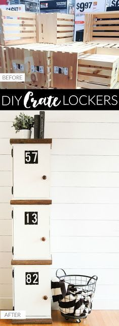 How to Build DIY Crate Lockers | Little House of Four: How to Build DIY Crate Locker| instead of numbers, use the kids names. Use for storing backpacks.