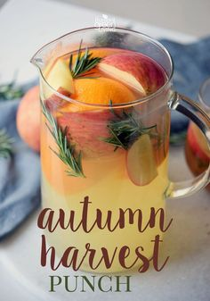 Autumn Harvest Punch Recipe with fresh fruit would be delicious either cold or warm! Serve it up chilled or simmer in the slow cooker crockpot. This autumn harvest Thanksgiving punch uses lemonade and orange juice and REAL fruit! Fall Punch Recipes, Fall Recipes, Holiday Recipes, Hot Tea Recipes, Party Punch Recipes, Drink Recipes, Wedding Punch Recipes, Thanksgiving