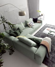 Moss Sofa Embodies the Classic Divan in a New Way - Anusha .- - Moss Sofa Embodies the Classic Divan in a New Way Moss Sofa Embodies the Classic Divan in a New Way - InteriorZine Green Sofa, Decor, Sofa, Home, Living Furniture, Best Sofa, Living Room Designs, Den Furniture Layout, Room