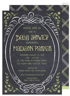 Sweet Yellow Chalkboard Baby Shower Invitations  #The Stationery Studio Big Plans Contest
