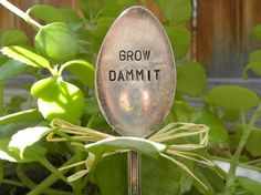 GROW DAMMIT garden marker spoon - plant marker - silver plated - antique - vintage