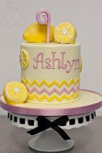 Lemonade themed birthday cake. Edible, fondant lemons, edible sugar 9, and chevrons.