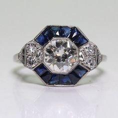 Antique 925 Sterling Silver 1.04ct Diamond & 0.9ct Sapphire Art Deco Ring