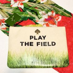 Kate Spade clutch! Perfect for a day at the ballpark!!!  You'll be the envy of all the other Mom's at your Little League games!  ☺️  - Beige canvas with green grass print - Orange leather trim - Gold and white fabric on the inside - Zipper closure - (L) 10 x (H) 7 x (W) 0.5 inches.  40515 kate spade Bags Clutches & Wristlets