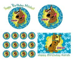 SCOOBY DOO Birthday Cake Frosting Edible Image Toppers, Cupcakes, or Sides by WilsonCakeImaging on Etsy