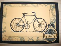 blue bike card - tim holtz stamp