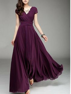Wrap Dress Maxi Dress Plum Dress V Neck Dress by Lemontree2013, $115.90