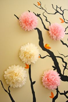 Apartment, Cool Flower Cherry Blossom 3d Wall Mural Baby Nursery Decoration Black Branch Wall Decals Pink White Tissue Paper Wall Art Work White Painted Wall Interior Design Decor Bedroom Decorating Wall Ideas: Cool 3d Wall Murals to Get Fresh Home Nuance