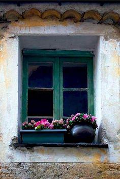 ysvoice:    | ♕ | Window & Flowerpots - Gorbio, Provence | by © Rita Crane
