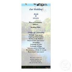 Designs by Susan Savad - Peaceful Lake Wedding Program -- Summer wedding program that you can customized yourself.  #wedding  #weddingprogram #customize #summer #lake   $0.55  per card   BULK PRICING AVAILABLE!