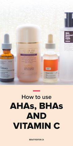 How to use AHAs, BHAs and vitamin C Beauty Care, Beauty Hacks, Diy Beauty, Beauty Ideas, Beauty Guide, Beauty Secrets, Homemade Beauty, Face Beauty, Skin Secrets