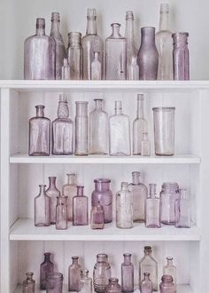 TEXTURE / COLOR: clear glass (These are old bottles that turn purple from the sun. They have to be at least 50 yrs. Vintage Bottles, Bottles And Jars, Antique Bottles, Paint Bottles, Glass Jars, Vintage Perfume, Perfume Bottles, Pastel Decor, Floral Supplies