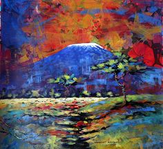 Mt Kilimanjaro-textured acrylics and textile on canvas-Rober Aswani. African Paintings, African Art, Love Painting, Artist Painting, Gallery Cafe, Kilimanjaro, Fantastic Art, Watercolor And Ink, Contemporary Paintings