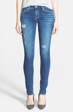 """Free shipping and returns on AG 'The Legging' Super Skinny Jeans (10-Year Mend) at Nordstrom.com. <p><B STYLE=""""COLOR:#990000"""">Pre-order this style today! Add to Shopping Bag to view approximate ship date. You'll be charged only when your item ships.</b></p><br>Tonal embroidery subtly brands the back pockets of stretchy, skinny denim leggings in a distressed medium wash."""