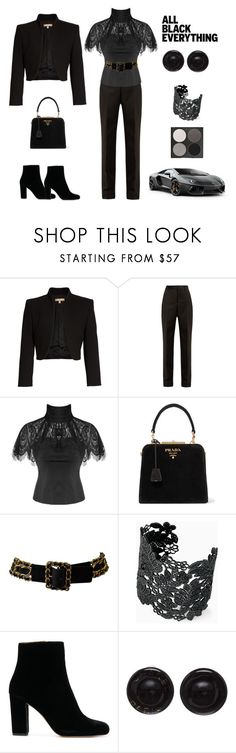 """""""Black Magic Everything"""" by scolab ❤ liked on Polyvore featuring Michael Kors, Maison Margiela, Prada, Chanel, Stella & Dot and Gorgeous Cosmetics"""