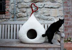 """Cuccia per gatto """"Snow"""", cuccia feltro, 100% lana tirolese, infeltrito a mano con sapone all'olio d'oliva, Fatto in Italia"""