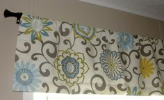 """Waverly Pom Pom Play Spa Valance 50"""" wide x 16"""" long Big Bold Flowers Lined with Cotton Muslin Blue Yellow Teal Putty Floral on Etsy, $45.00"""