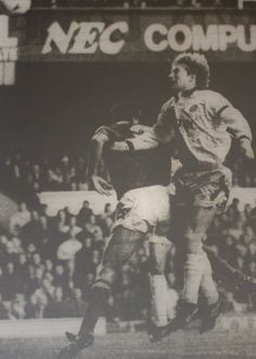 31 October 1992 Manchester City defender, Ian Brightwell, rises above Paul Rideout but he can only direct his header into his own net