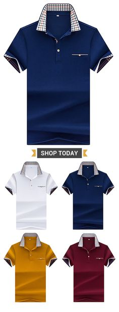 9ff415a1a54 Mens Stylish Golf Shirt Solid Color Short Sleeve Spring Summer Casual Tops  is fashion and breathable