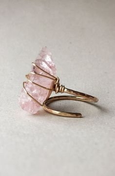 Lovely Clusters - Beautiful Shops: Large Rough/Raw Morganite - Gold Filled Hammered Adjustable Ring in 2020 Raw Crystal Jewelry, Sea Glass Jewelry, Silver Jewelry, Raw Gemstone Jewelry, Crystal Ring, Gemstone Earrings, Crystal Necklace, Diy Rings, Bijoux Diy