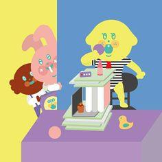Happy children's day! #kids #illustration#drowning #插畫 #일러스트레이션 #아기#funny#happychildrensday#uniquefamily #유니크패밀리 #강아지🐶 #토끼 #toy #officer #dog🐶 #rabbit