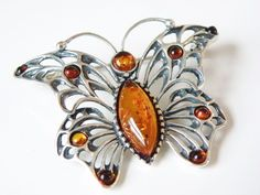New Large Amber Stone Designer Sterling Silver 925 Butterfly Brooch Pendant #QVC