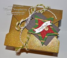 Glitzy Gold Christmas Takeout Box from Stamping Inspiration @ MarieStamps.com.  This is Stampin' Up!'s new Takeout Box all dressed up for Christmas embossed with Iridescent Ice and a *Starry* tag!