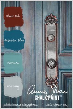 COLORWAYS Pinterest Photo of door provides inspiration for creating a blue translucent finish with Annie Sloan Chalk Paint®. Aubusson Blue, Paris Grey, Provence, Primer Red