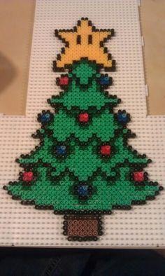 Nintendo Christmas Tree perler beads by Ceri Humphreys
