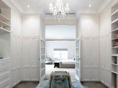 master closet, walk in closet, closet with french doors, french doors in closet, .