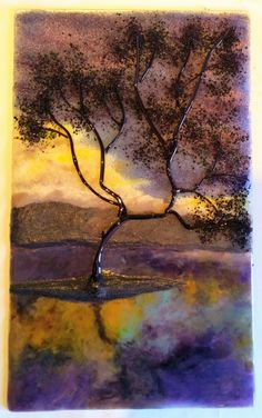 Solitude of Storm, Glass Frit and Powder Painting by Diane Quarles