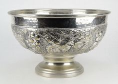 LARGE HAND HAMMERED PUNCH BOWL Hand Hammered with Grape Motif Silver Over Copper