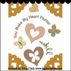 You Make My Heart Flutter 1 Cutting File : Digital Scrapbook Kits, Cute Clip Art, Cutting Files, Trina Clark, Instant downloads, commercial use allowed, great prices.