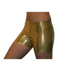 Gold Metallic Spandex Compression Shorts - (available in 3 lengths)