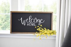 Welcome Home Sign + Welcome Sign + Farmhouse Decor + Wall Decor Welcome Chalkboard, Chalkboard Art Quotes, Chalkboard Signs, Chalkboards, Welcome Home Decorations, Welcome Home Signs, Wood Signs For Home, Farmhouse Style Decorating, Farmhouse Decor