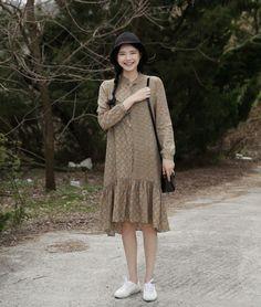10's trendy style maker 66girls.us! Dropped Waist Geometric Print Dress (DGUY) #66girls #kstyle #kfashion #koreanfashion #girlsfashion #teenagegirls #fashionablegirls #dailyoutfit #trendylook #globalshopping