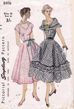 Simplicity circa Misses One piece Dress: View A wide collar, edged with a braid and a ruffle, forms the low neck-line of 1950s Dress Patterns, Vintage Sewing Patterns, Clothing Patterns, Vintage 1950s Dresses, Vintage Outfits, 1950s Fashion, Vintage Fashion, Do It Yourself Fashion, Full Skirt Dress