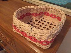 Cute little heart basket with fancy rim.